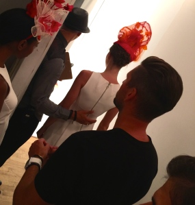 A model prepares to enter the runway